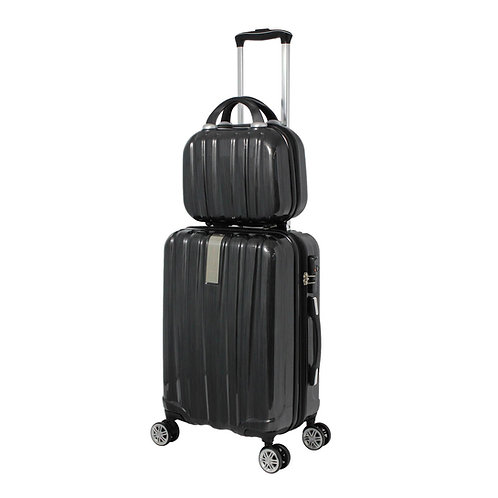 World Traveler Monaco 2-Piece Expandable Carry-On Spinner Luggage Set - Black