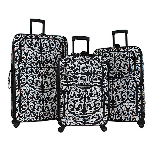 World Traveler 3-Piece Rolling Expandable Spinner - Black Trim Damask