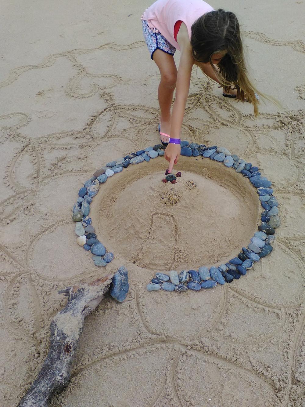 Sand castle in mandala