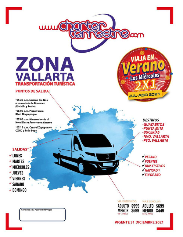 Transportacion Turistica en Charter Terrestre desde Guadalajara Todos los dias del año a Guayabitos, Sayulita, Punta de Mita, Bucerias, Nvo Vallarta y Pto Vallarta