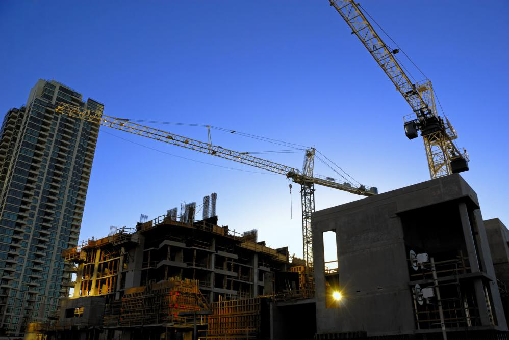 A construction site with a blue sky in the background.