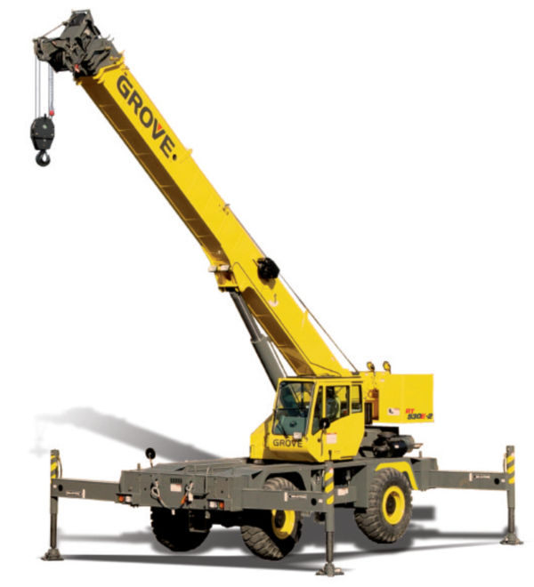 a mobile crane with outriggers for added stability