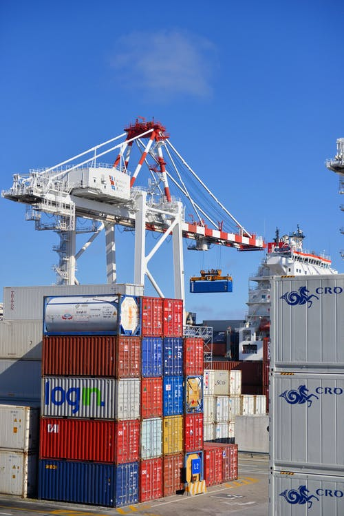 a crane over containers