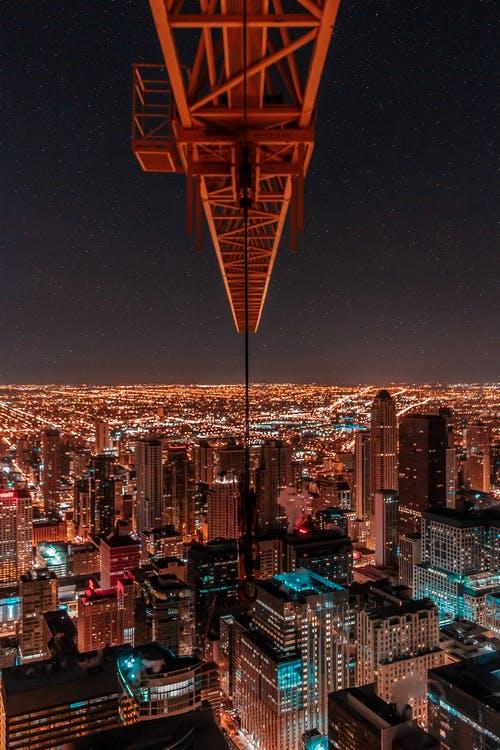 a crane over buildings