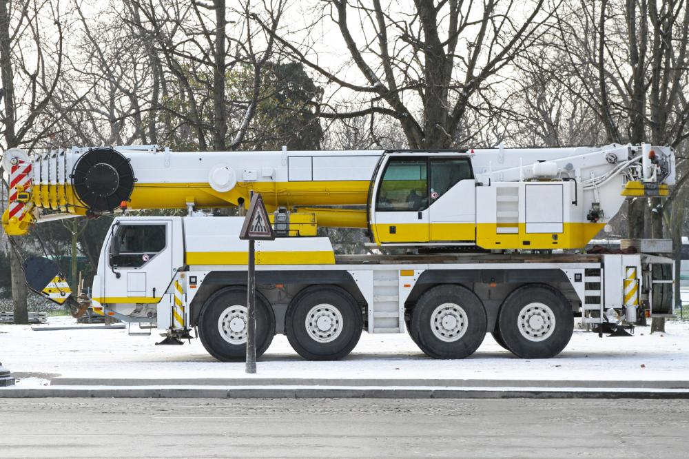 a mobile crane at a worksite