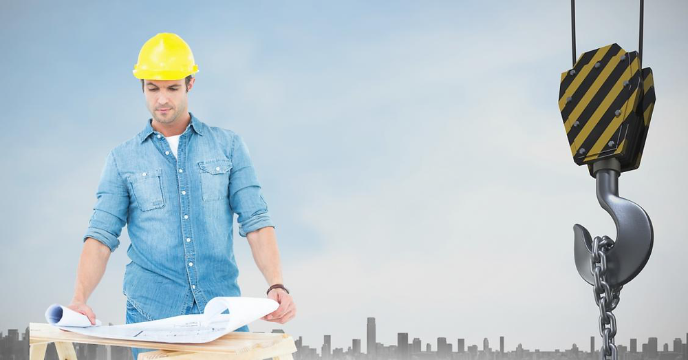 digital composite of architect with plans by crane