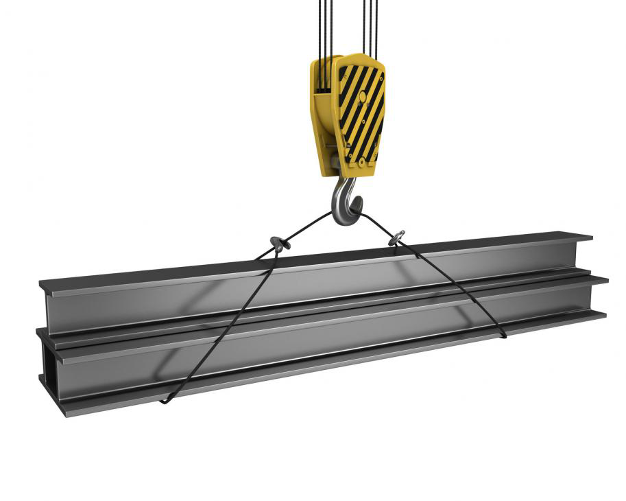A crane-hook attached to steel girders.