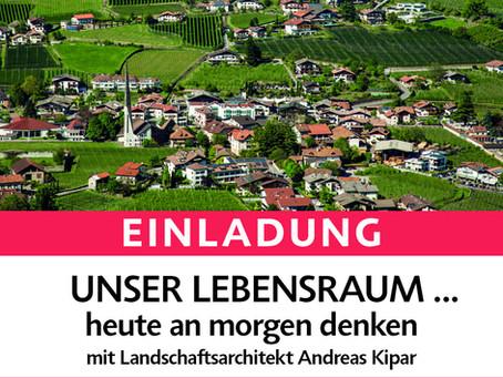 Vortrag mit Landschaftsarchitekt Andreas Kipar am 8. Mai in Algund