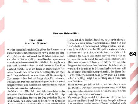 BBT und Landschaft - ein Text von Helene Hölzl in Turris Babel