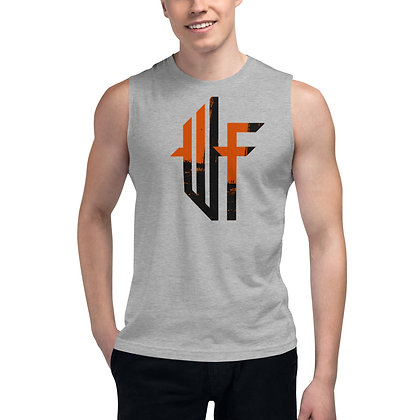 Male WF Muscle Shirt orange and black