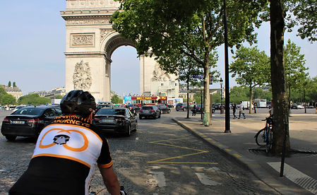 Cycling into Paris, France