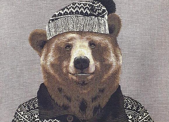 Гобеленовая наволочка Лыжник Медведь