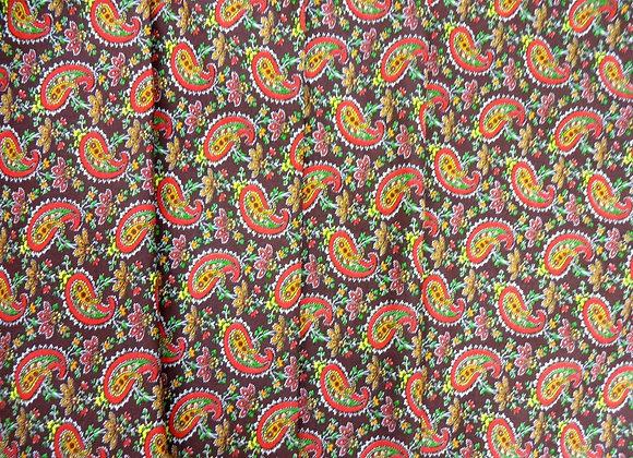 Ткань плательная Цветные огурцы коричневый фон