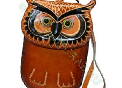 Кошелек-сумка из натуральной кожи Сова