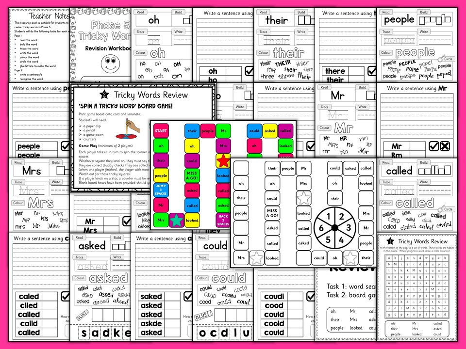 Phonics Phase 5 Tricky Words Practice Worksheets Sen Toolkit