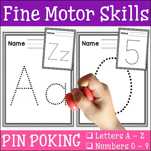 child pin poking the letter A to practise fine motor skills