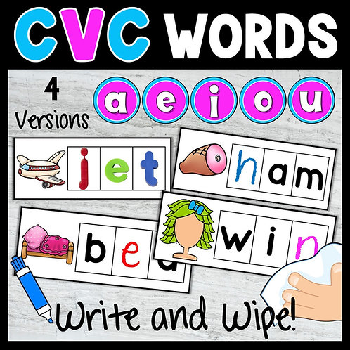 CVC Words Station Write and Wipe Cards