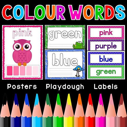 Colour Words Posters Labels Playdough Mats