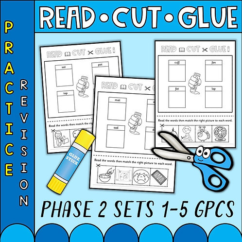 scissors and glue to help cut and glue phonics phase 2 sounds