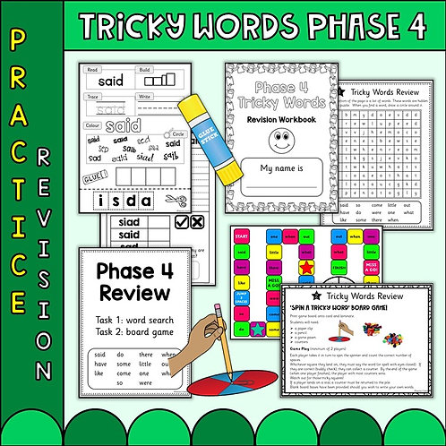 Phonics Phase 4 Tricky word worksheets