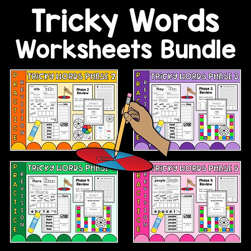 images of all worksheets in bundle to help learn phonics phases 2-5 tricky words