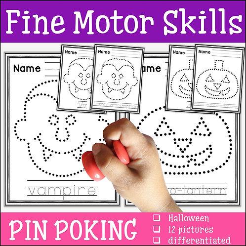 Child pin poking a vampire to practise fine motor skills