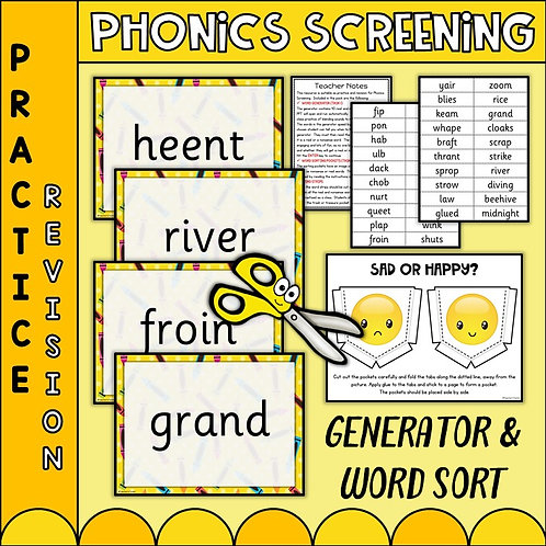 slides showing phonics screening practice words