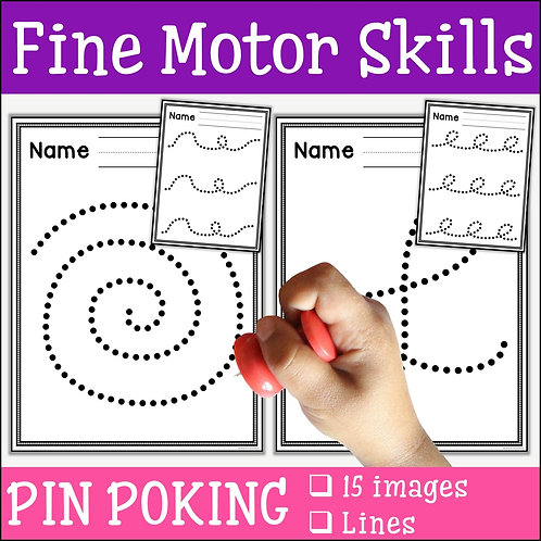 child pin poking a spiral to practise fine motor skills