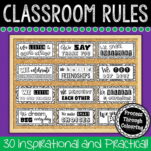 Memo board displaying colour in classroom rules