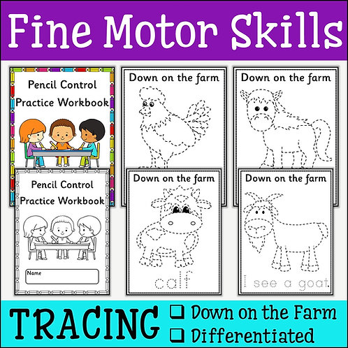 Fine Motor Skills: Down on the Farm Tracing
