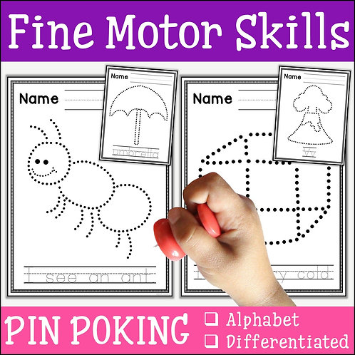 child pin poking an ant to practise fine motor skills