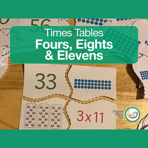 Times Tables_Matching 4s 8s 11s