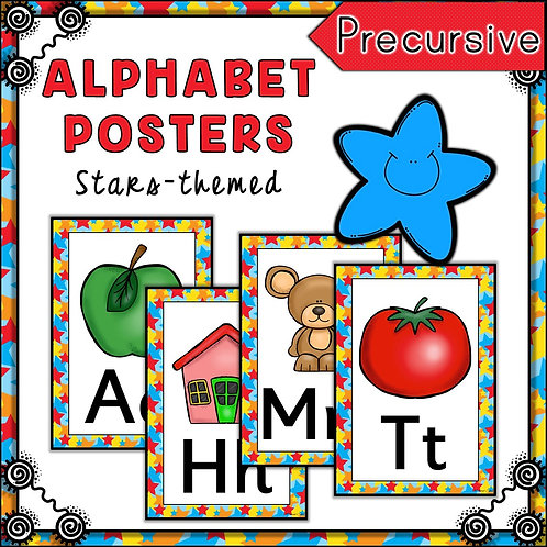 Stars Themed Alphabet Posters Frieze