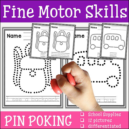 Child pin poking a school backpack to practise fine motor skills