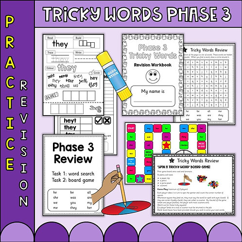 Phonics Phase 3 Tricky word worksheets