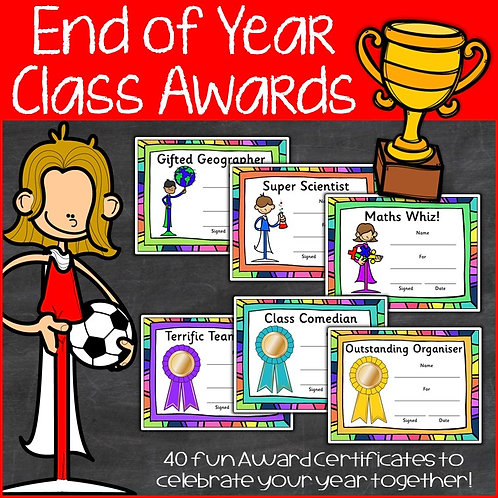 Image of trophy and end of year class award certificates