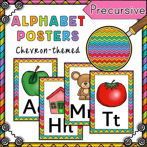 Rainbow Chevron Themed Alphabet Posters Frieze