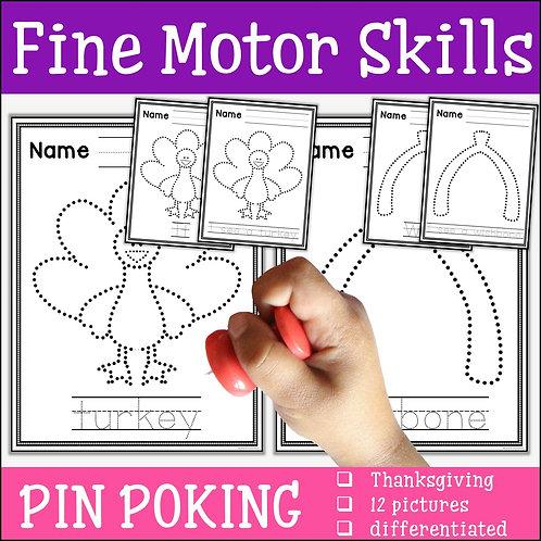child pin poking a thanksgiving turkey to practise fine motor skills