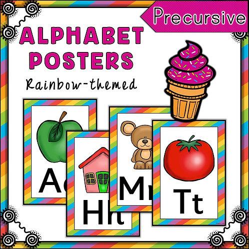 Rainbow 2 Themed Alphabet Posters Frieze