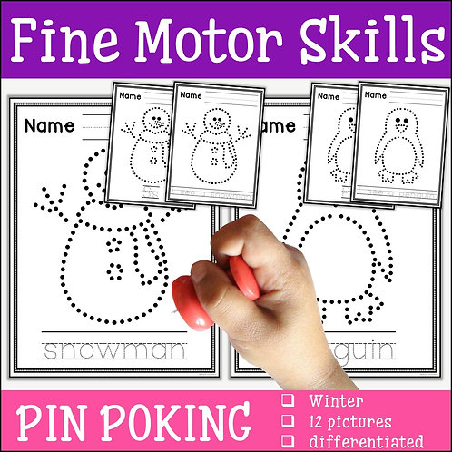 Child pin poking a snowman to practise fine motor skills