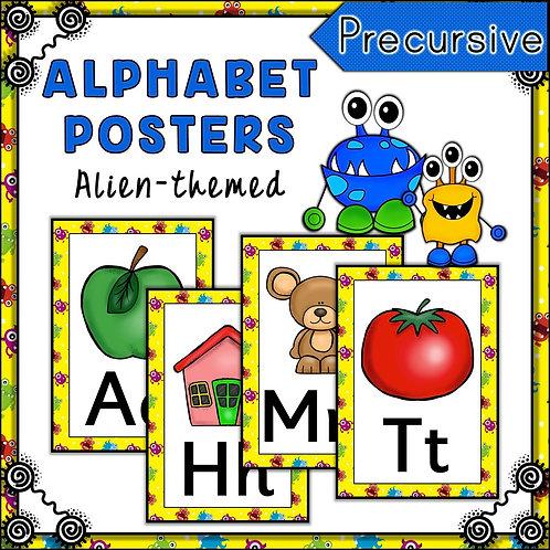 Alien Themed Alphabet Posters Frieze