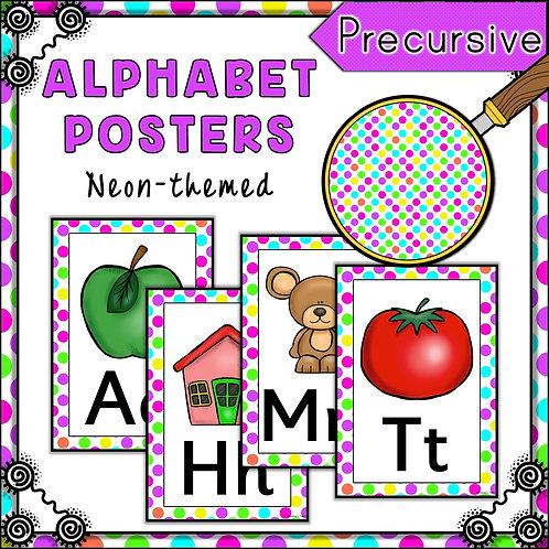 Neon Polka Dot Themed Alphabet Posters Frieze