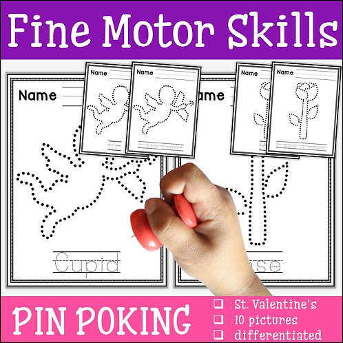 Child pin poking a Valentine's Day cupid to practise fine motor skills
