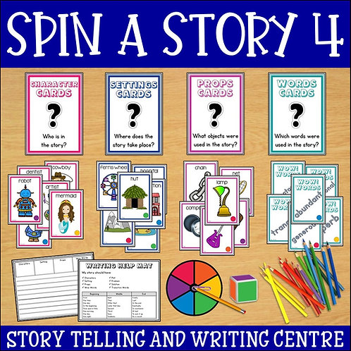 Materials required to play Spin a Story Game