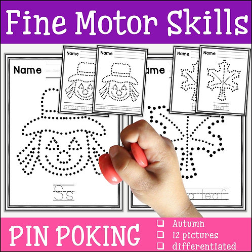 Child pin poking a scarecrow to practice fine motor skills