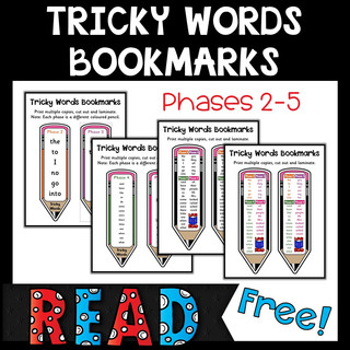 Tricky Words Bookmarks