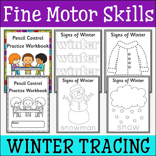 Fine Motor Skills: Signs of Winter Tracing