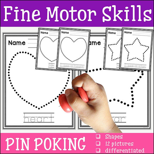 child pin poking a heart shape to practise fine motor skills
