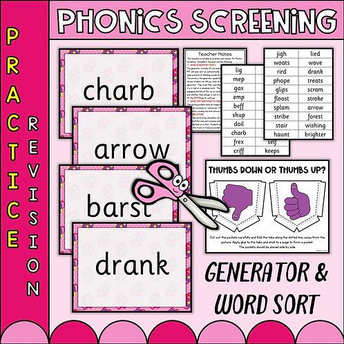slides showing phonics screening practice words