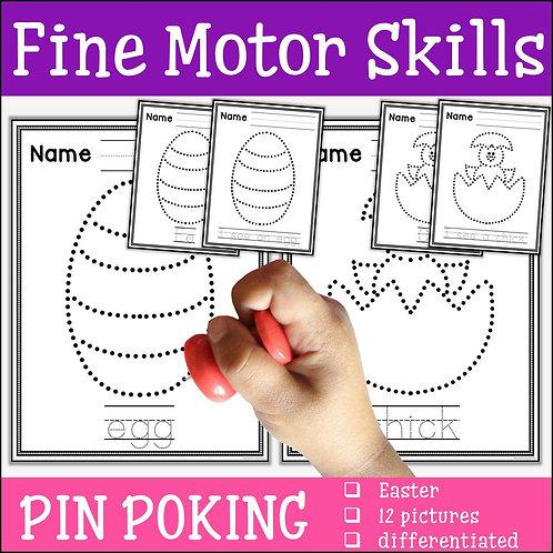 Child pin poking an Easter egg to practise fine motor skills